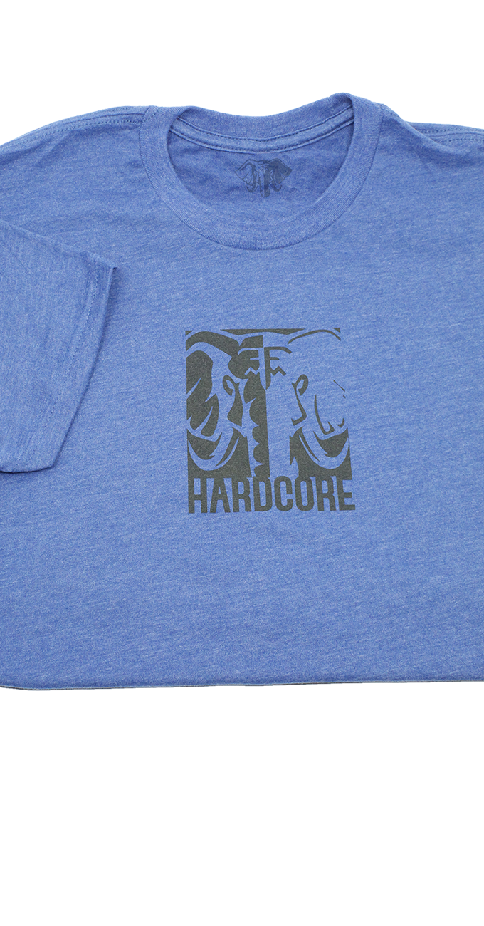 Hardcore T-Shirt, Blue & Gray shirt, elephant, hardcore, tshirt, t-shirt, gray, blue, cotton, polyester