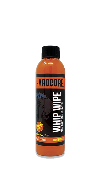 Hardcore Whip Wipe All Surface Cleaner, 6 oz Concentrate Refill whip, wipe, bike, cleaner, refill, bicycle, no-rinse, rinse-free, one-step, soap, degreaser, hardcore, 6oz, concentrate, cleaning