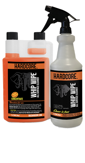 Hardcore Whip Wipe All Surface Cleaner Pro-Kit, 32 oz Concentrate with HD Trigger Bottle whip, wipe, no-rinse, waterless, bike, bicycle, cleaner, Pro, kit, quart, degreaser, one-step, shine, clean, soap, rinse-free, detergent