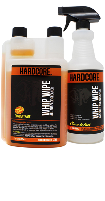 Hardcore Whip Wipe Bike Surface Cleaner Pro-Kit, 32 oz Concentrate with HD Trigger Bottle whip, wipe, no-rinse, waterless, bike, bicycle, cleaner, Pro, kit, quart, degreaser, one-step, shine, clean, soap, rinse-free, detergent